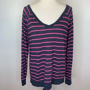 Pink Victoria Secret Striped Long Sleeve V Neck L